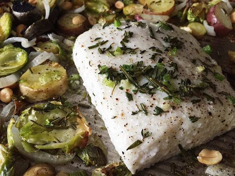 one pan halibut with vegetables - The Everyday Mom Life