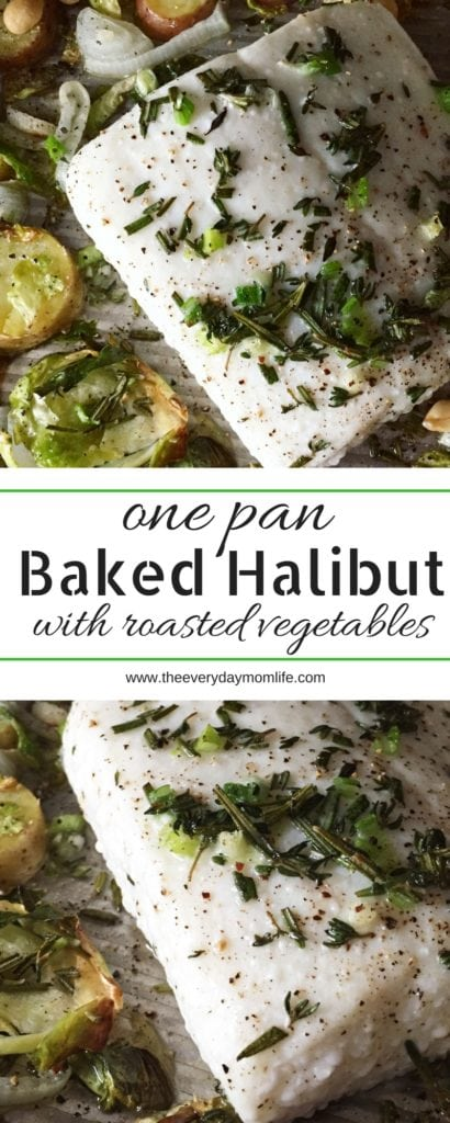 one pan baked halibut with vegetables - The Everyday Mom Life