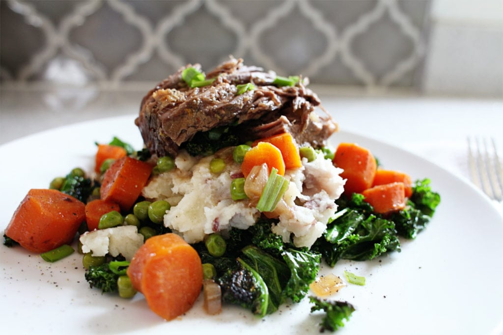 Slow Cooker Beef Pot Roast With Smashed Potatoes & Kale - The Everyday Mom Life